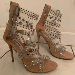 NWT Steve Madden tan strappy rhinestones heels